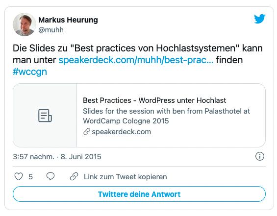 Tweet von Markus Heurung